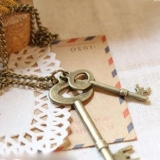European Style Vintage Simple Bronze Key Pendant Sweater Necklace