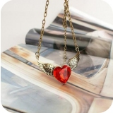 Vintage Red Heart Crystal Angle Wing Pendant Necklace