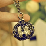 European Style Vintage Long Bronze Crown Pearl Pendant Necklace