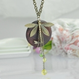European Style Vintage Bronze Dragonfly Sweater Pendant Necklace
