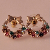 Unique Multi-color Ladies' Bowknot Stud Earrings for Girls