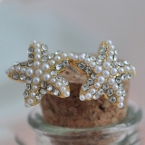 Elegant Goldern Edge Starfish Stud Earrings with Beads