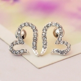 Simple Silver Heart Rhinestone Stud Earring