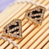 "Fashion Golden Triangle ""S"" Letter Superman Rhinestone Stud Earring"