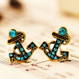 Vintage Anchor Blue Rhinestone Stud Earring For Women