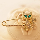 Fashion Lovely Green Eye Cat Animal Rhinestone Brooch