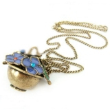 Vintage Flower Basket Shape Pendant Chain Necklace