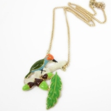 Chic Green Leaves and Birds Chain Necklace