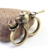 Vintage Gold Cup Diamond Double Ring