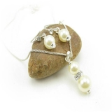 Elegant Chic White Pearl Rhinestone Pendant Chain Necklace