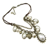 Vintage Pearl Heart Bib Necklace