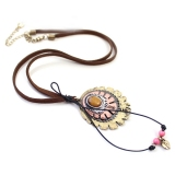 Antique Oval Pendant Leather Chain Necklace