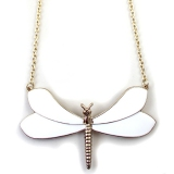 White Dragonfly Gold Plated Alloy Chain Necklace