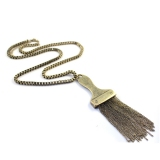 Vintage Gold Plated Alloy Tassels Brush Chain Necklace