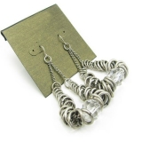 Vintage Silver Chain Rhinestone Drop Damgle Earrings