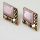 Fashion Vintage Purple Geometrical Stud Earring