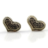 Vintage Bronze Heart-shaped Peach Heart Stud Earrings