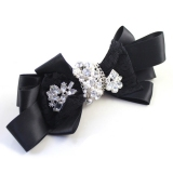 Fashion Black Flower Brooch With Gemstone