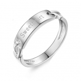 Fashion Sweet Heart Silver Band Ring