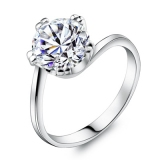 Luxury Exquisite Silver Rhinestone Ring