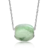 Simple Exquisite Silver Agate Emerald Pendant Necklace