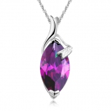 Luxury Silver Crystal Pendant Necklace