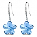 Elegant Plum Flower 925 Sterling Silver Crystal Drop Earring