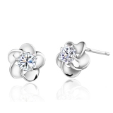 Exquisite Flower Shape CZ 925 Sterling Silver Stud Earring