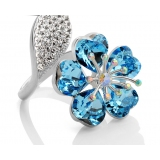 Luxury 18K GP Austrian Crystal Flower Ring