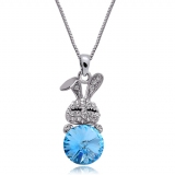 Exquisite Little Rabbit Austrian Crystal Pendant Necklace