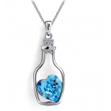 Pretty Love Bottle Austrian Crystal Pendant Necklace