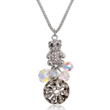 Exquisite Lovely 18K GP Austrian Crystal Little Bear Pendant Necklace