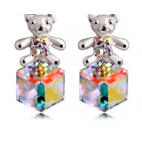 Lovely 18K GP Little Bear Purple Austrian Crystal Drop Earring