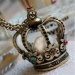 Vintage Hollowed Crown Pearl Rhinestone Sweater Pendant Necklace
