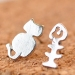 Lovely Silver Cat Fish Bone Stud Earring For Ladies