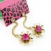 Bold Fashion Golden Drop Earrings with Red Rhinestone